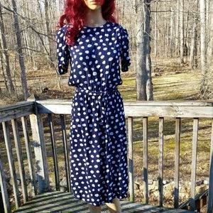 Vintage Karin Stevens Navy/White Polka Dot Dress